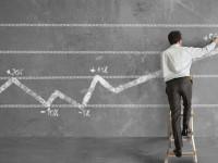 Businessman and statistics trend